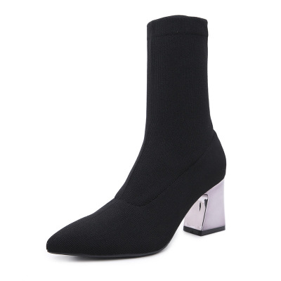 Autumn and winter pointed women's shoes breathable stretch Lycra socks boots plated metal high heeled thick heel women's booties