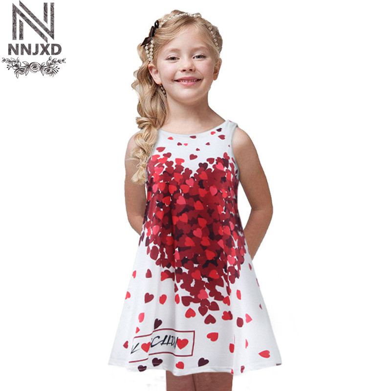 New Casual Summer Dress for Girl Children Kids Age 2-7 Years Old Girl with Print Red Heart Sleeveless Dress new the european ce standards pp plastic baby walkers scooters musical scooter for children 2 years of age or older
