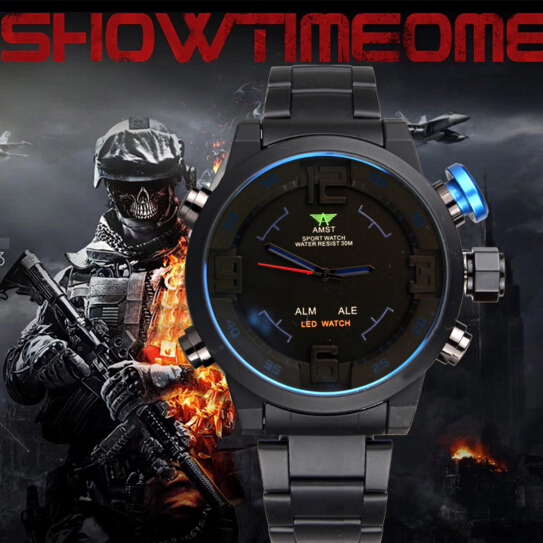 AMST Brand LED <font><b>Blu-ray</b></font> mirror <font><b>Men</b></font> Watch Army Military fashion Mens Outdoor Watches waterproof <font><b>Men's</b></font> Dual Display Wristwatches