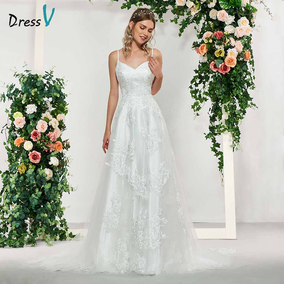 Dressv Elegant Ivory Sleeveless A Line Appliques Wedding Dress