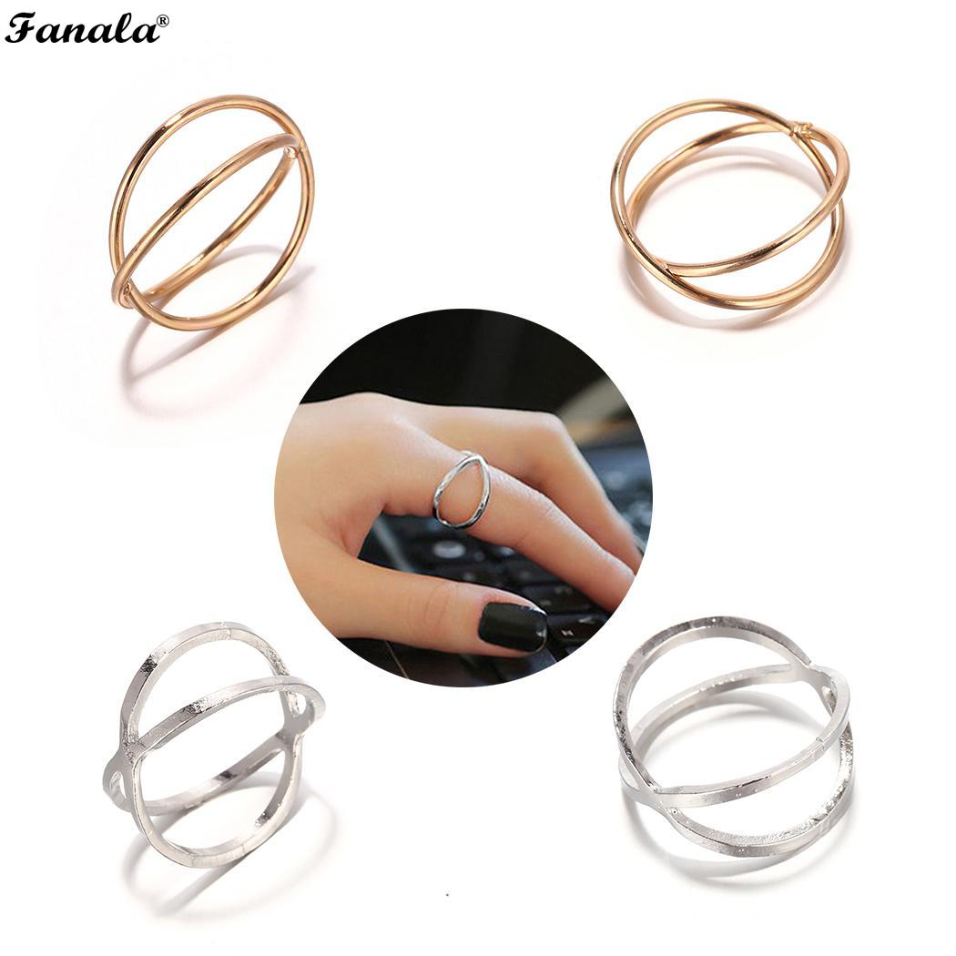 Ring Casual Circle X Cross Hollow Ring Index Finger Women