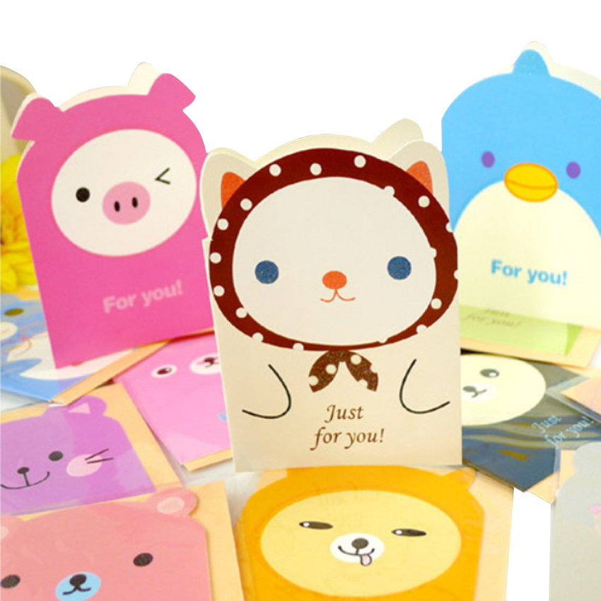 50pcs/lot Korean Creative Cute Animal Cartoon Greeting Card Random For Gifts And Write Words On
