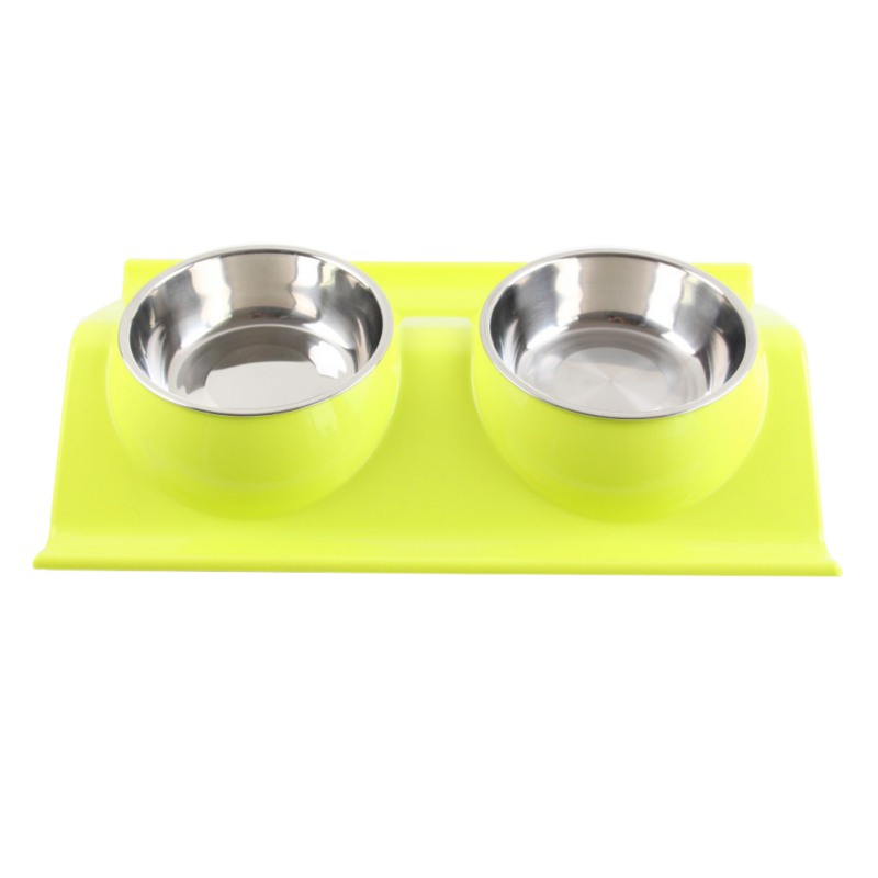 Stainless steel font b pet b font bowl Color double bowl Anti skid and leak proof