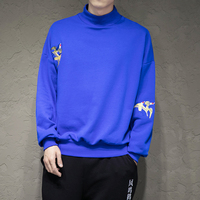 Turtleneck Embroidery Sweatshirt For Men Fashion Casual Loose Pullover Hoodie Coat Male Big Size Long Sleeve