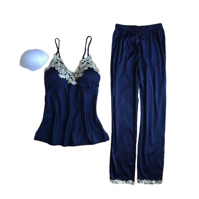 New Fashion Luxury Lace Silk   Pajama     Set   Summer Autumn Clothing For Women Spaghetti Strap Sleepwear Long Pants Suit Homewear Hot