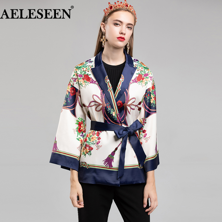 AELESEEN Luxury Autumn Spring Kimono Jacket 2018 Flare Bat Sleeve Knot Floral Printed Loose Belt Jacket