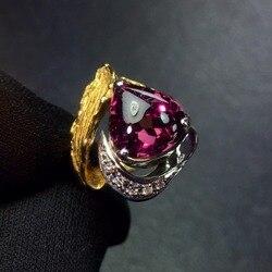 Ювелирные изделия настоящее Pt900 Платиновое золото 100% Природный красный турмалин драгоценный камень 4.96ct женские кольца для женщин