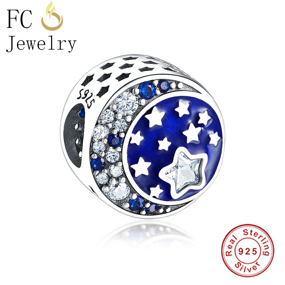 7823533c4 Genuine 925 Silver MIDNIGHT BLUE PAVE STARS Beads Charm Fit Orignal Pandora  Charm Bracelet DIY European Women Berloque Gift New