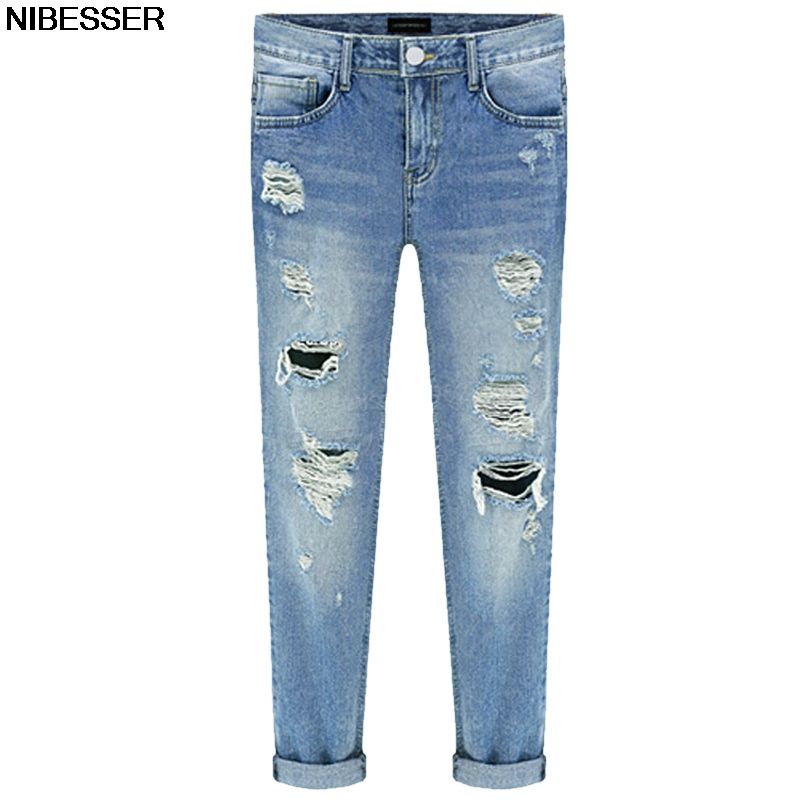 NIBESSER Boyfriend Jeans For Women Sexy Hole Ripped Hip Hop Pants Trousers 2017 Casual Femme Pencil Jeans Mujer Z30 2016 loose cross pants boyfriend destroyed jeans baggy pants high quality ninth pants ripped hole saggy pants hip hop jeans