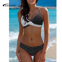 Tengweng 2017 Women Retro Sexy High Neck Push Up Bikini Set Floral Print Swimsuit Brazilian Swimwear Cutout Bath Suit Plus Size недорого