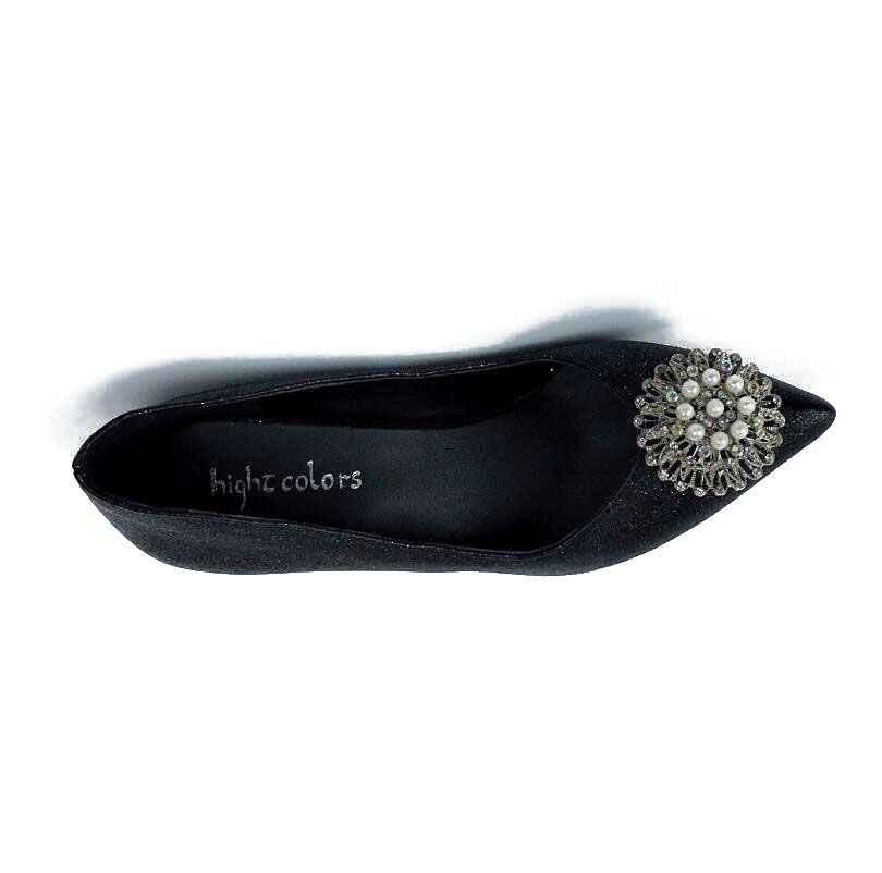 Yeni 2019 İlkbahar Sonbahar Kadın Pompaları Seksi Siyah Pembe Mor Yüksek Topuklu Ayakkabılar Moda Lüks Rhinestone Çiçek Düğün parti ayakkabıları