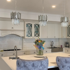 Image 4 - Chrome/gold kitchen lights led chandelier lighting for dining room luxury foyer k9 crystal small round hanging lamp