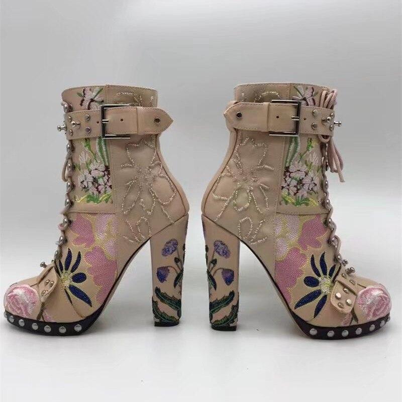 Mujeres Negro Mujer Alto Las De Bordado Plataforma Rosa Tobillo Genuino Cuero Talón Zapatos rosado Botas Con Otoño Remaches Del Jady Cordones wYHfIqxvf