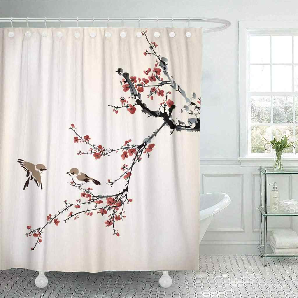 Fabric Shower Curtain with Hooks Pink Blossom Birds and Winter Sweet Watercolor Chinese Tree Branch Japanese Drawing