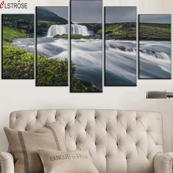 CLSTROSE Spray Painting Unframed Hot Sale Modern Mountain And River Landscape Canvas Painting On 5 Piece Wall Art Pictures