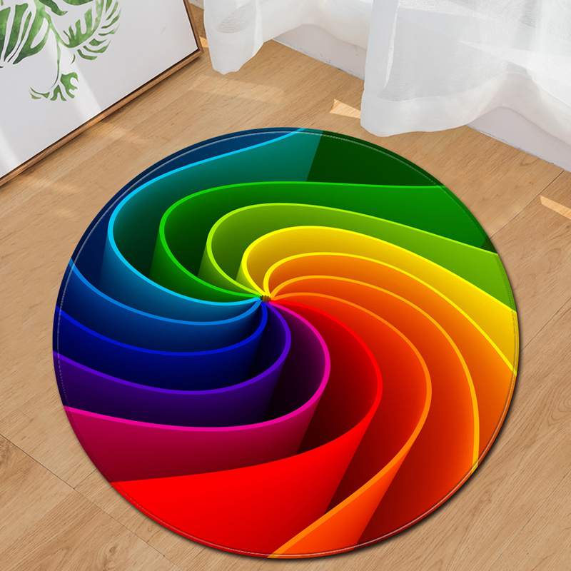 EHOMEBUY New Arrival Carpet Round Carpet Colorful Spiral Carpet Home Hotel Foot Pad Living Room Bedroom Decoration Mat Floor Pad