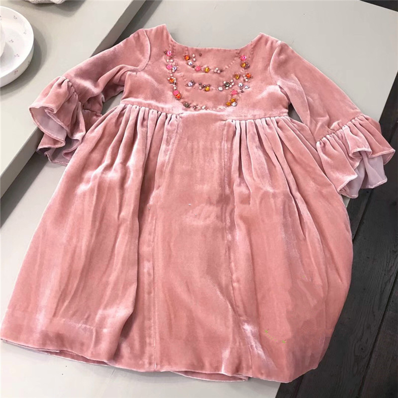 Girls dress handmade velvet three quarter fashion baby girls dresses beading design solid pink color baby dress Girls dress handmade velvet three quarter fashion baby girls dresses beading design solid pink color baby dress