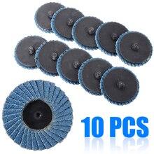 """10 adet/takım 2 """"/50mm Lug zımpara taşlama 60 Grit Flap tipi R Roloc disk tekerlekler ahşap metal plastik aşındırıcı aracı"""