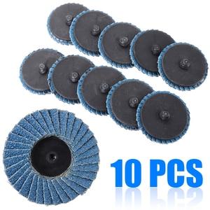 "Image 1 - 10pcs/Set 2""/50mm Lug Sanding Grinding Wheel 60 Grit Flap Type R Roloc Disc Wheels Wood Metal Plastic Abrasive Tool"