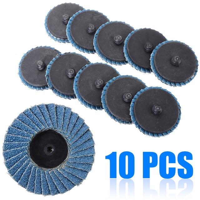 "10pcs/Set 2""/50mm Lug Sanding Grinding Wheel 60 Grit Flap Type R Roloc Disc Wheels Wood Metal Plastic Abrasive Tool"
