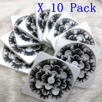 Mikiwi 25mm lashes 10pcs 7 styles in one tray 3d mink eyelashes 25mm mix 7 pairs per pack strip false eyelash for makeup
