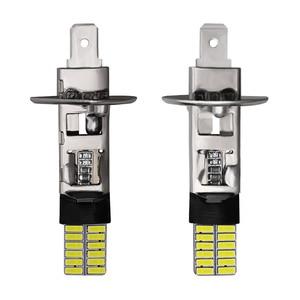 Image 2 - CARBINS 2X H1 H3 LED נורות סופר מואר 4014 24SMD רכב ערפל אורות 12V 6000K לבן נהיגה יום ריצה מנורת Nebbia רכב אות LED