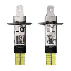 Image 2 - CARBINS 2X H1 H3 ampoule LED, Signal lumineux pour voiture, anti brouillard 12V 4014 K, lampe blanche de course de journée de conduite, Nebbia, 6000 24SMD