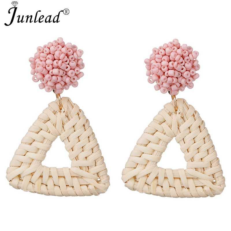 Junlead Wholesale Triangle Pendant Vintage Dangle Statement Earring Beaded  Wooden Straw Weave Rattan Earrings For Female 5c2a5e32fb60