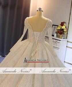 Image 5 - Robe de soiree casamento 2019 beading completo vestido de casamento espumante 100% alta qualidade trabalho real