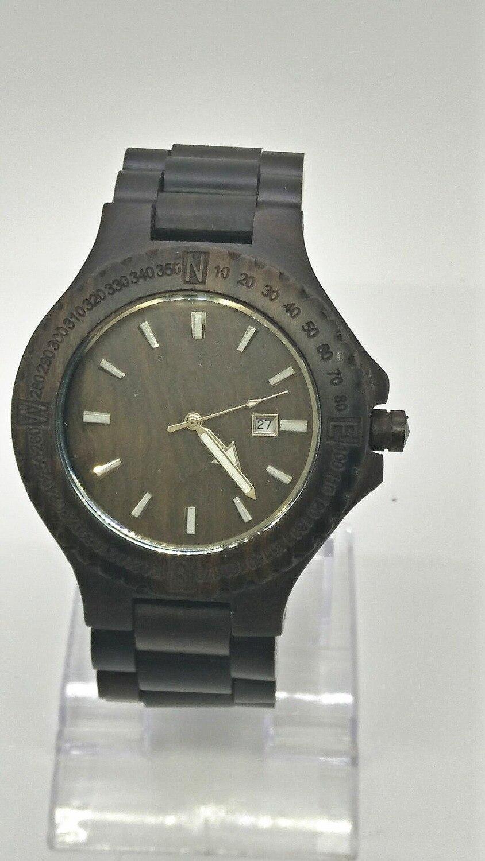 Fashion Classic Japan Movt Black Walnut Wood Watch Qu !