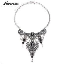 New Fashion Women 2016 Cheap Vintage Silver Necklace Pendant Retro Collier Femme Bib Collar Boho Maxi Crystal Jewelry Accesory
