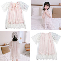 Ins hot fashion girl pajamas sets 2019ss spring and summer new girls baby lace embroidery lace top lined kids homewear