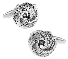 Men Gift Stock Cuff Links Novelty Metal Knot Design Silver Color Copper Cuff Links Wholesale&retail