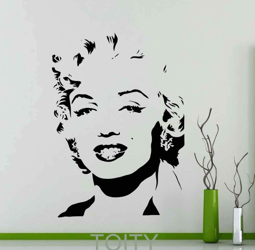 Aliexpress.com : Buy Marilyn Monroe Wall Sticker Retro Pop Star Vinyl Decal  Classic Art Mural Dorm Studio Home Room Interior Decor From Reliable  Interior ... Part 48