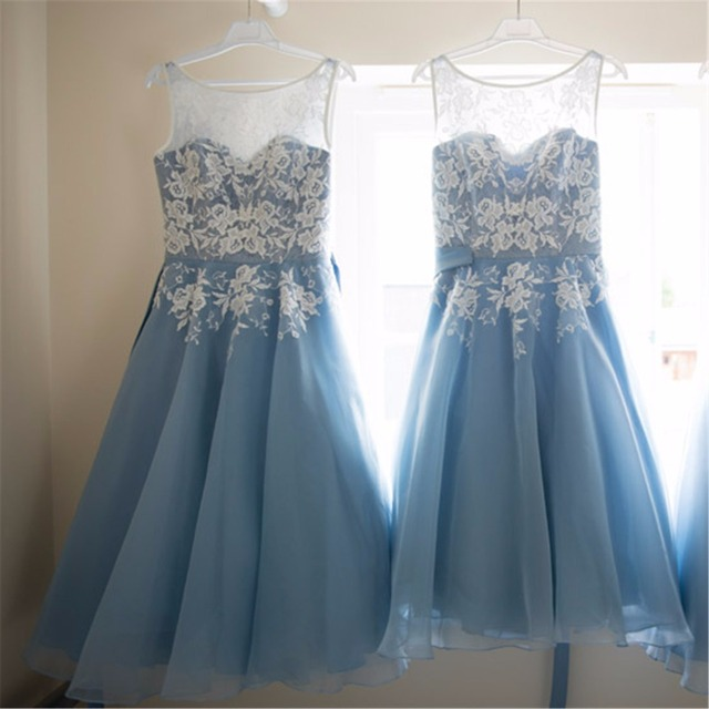 ca7a67955e1a Dreaming Wedding Lace Bridesmaid Dress with White Floral Pattern A-line  Satin Sash Knot Bow Chiffon Baby Blue Bridesmaid Dress