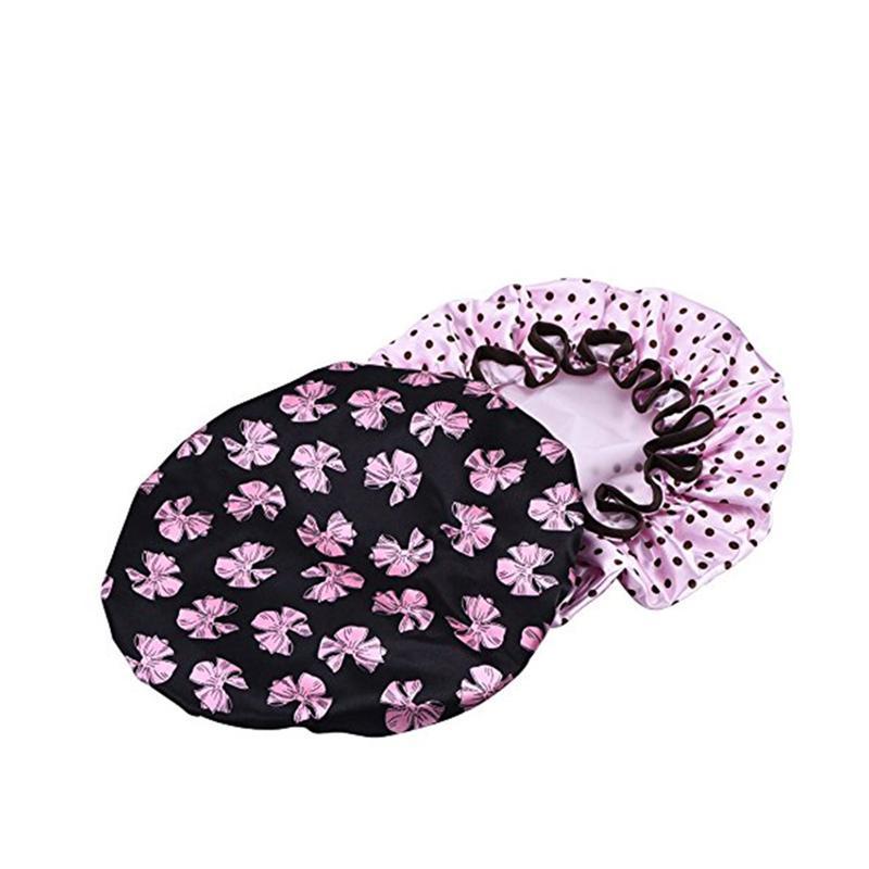 LUOEM 2pcs Women Waterproof Shower Bath Cap with PotFlower Design (Black Butterfly with Pink Dot)
