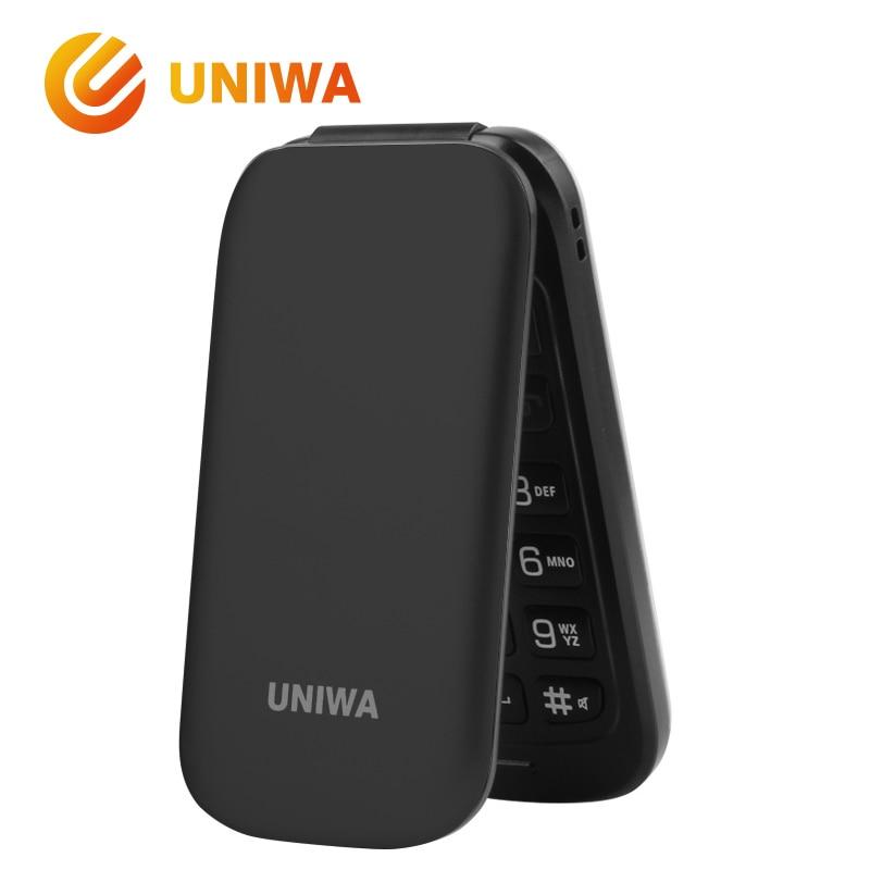 Senior Flip Phone GSM Big Push-Button Old Man Flip Mobile Phone Dual Sim FM Radio Russian Keyboard Unlocked Uniwa X18 Cellphone