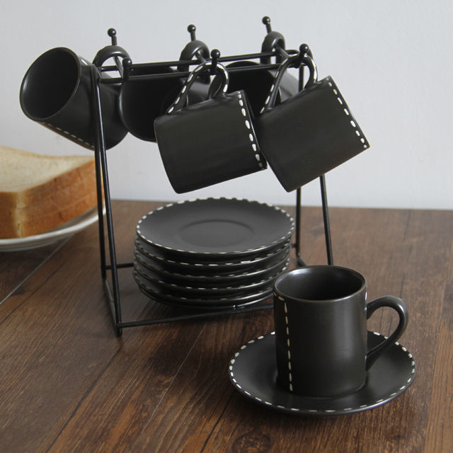 Retro And Saucer Coffee Cup Set Gift Box Of European Ceramic With Holder