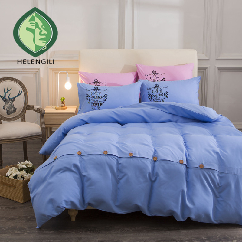Helengili close skin comfortable pure color button duvet cover bedding set blue green black many color twin full queen king