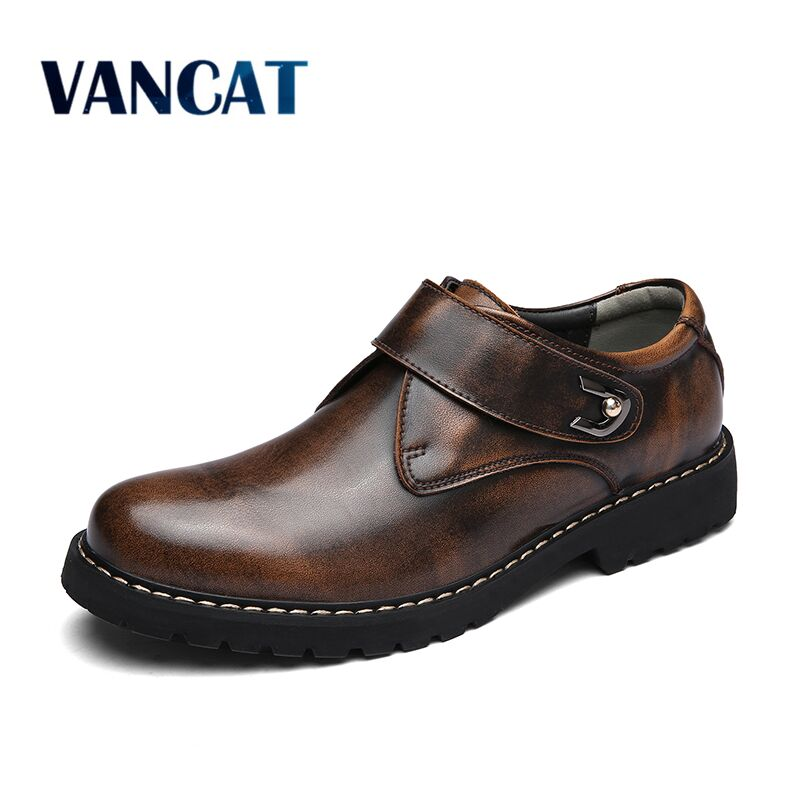 VANCAT Brand Handmade Breathable Men's Oxford Shoes Top Quality Dress Shoes Men Flats Fashion Genuine Leather Casual Men Shoes lovexss casual oxford shoes fashion metal decoration shallow shoes black purple genuine leather flats woman casual oxford shoes