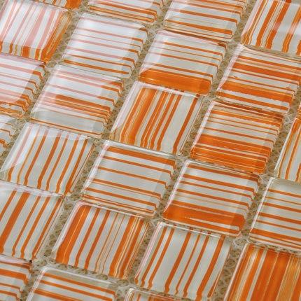 orange hand painted diy crystal glass mosaic tiles children kids room kitchen backsplash tile bathroom color