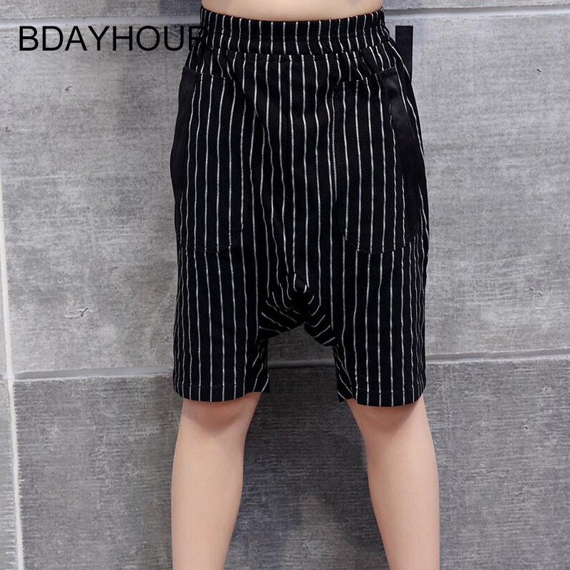 Fashion Classic Stripes Harlan Boy Shorts 2017 Cool Summer New Elastic Waist Double Pockets Loose Straight