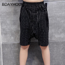 Fashion Classic Stripes Harlan Boy Shorts 2017 Cool Summer New Elastic Waist Double Pockets Loose Straight Mid Boy Beach Shorts