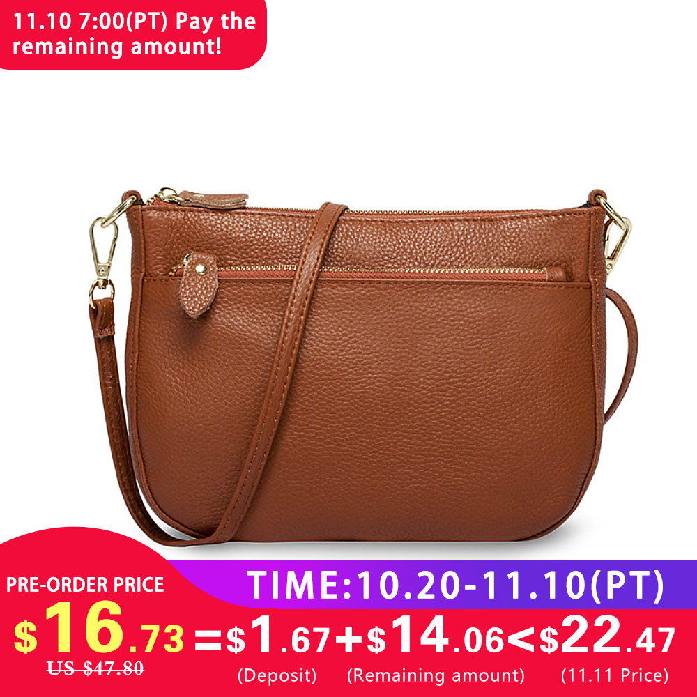 купить Zency Fashion Women Crossbody Bag 100% Genuine Leather Brown Handbag Small Flap Bags Simple Lady Shoulder Purse Messenger по цене 1527.9 рублей
