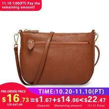 63777974f22ab Zency Fashion Frauen Umhängetasche Tasche 100% Echtem Leder Braun  Handtasche Kleine Klappe Taschen Einfache Dame Schulter Handta.