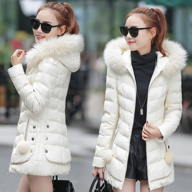 2017 The new Korean version of the big hair collar down jacket cotton women in the long section Slim Hooded Mianfu warm coat the other side of the road new extended version cd