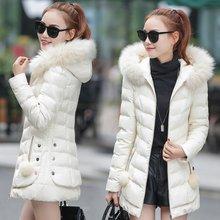 Новый Корейской версии большие волосы воротник пуховик хлопок женщин в длинный отрезок Тонкий Капюшоном Mianfu теплый пальто