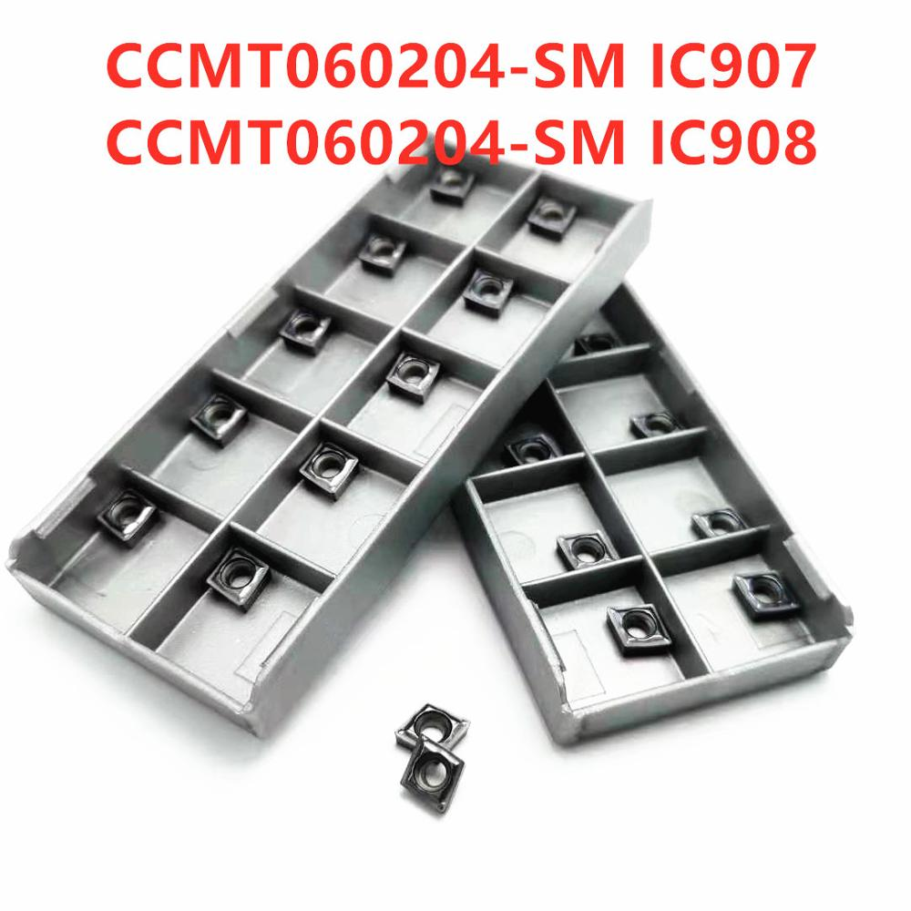 Tungsten Carbide CCMT060204 SM IC907 908 Turning Carbide Inserts Internal Turning Tool Blade CNC CCMT 060204 Lathe Metal Tool