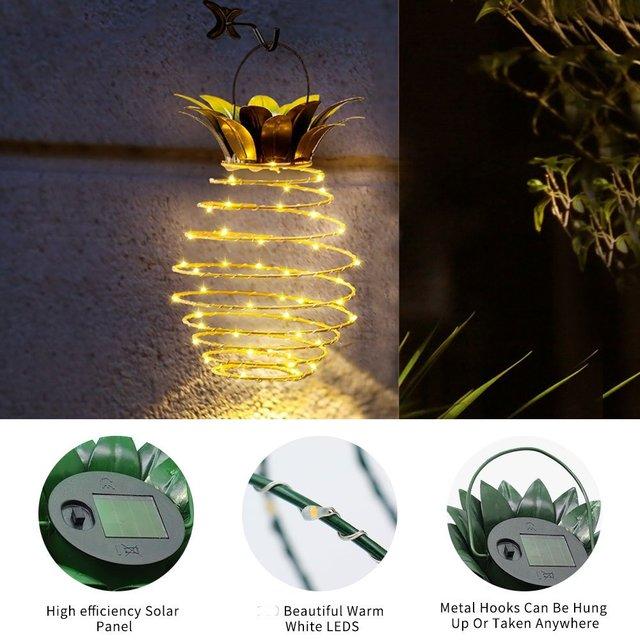 2 Pcs New Garden Pineapple Hanging Solar Lights 5