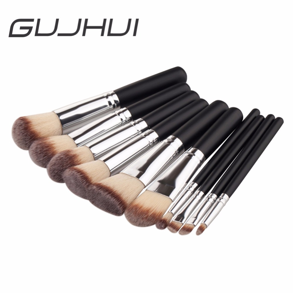 High Quality 10Pcs Makeup Brushes Set Silver Black Wood Handle Powder Foundation Blusher Eyeshadow Cosmetic Brush Tools #229763 digicom portable cube speaker system for ipod